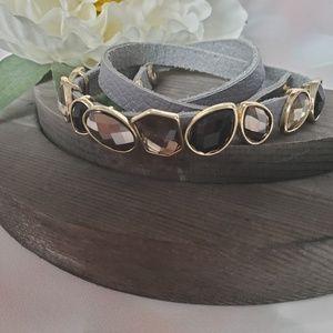 Nwt Gray Leather & Gemstone Wrap Bracelet